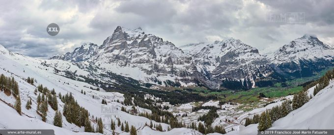 JF749006. Grindelwald-First mountain panorama. Switzerland
