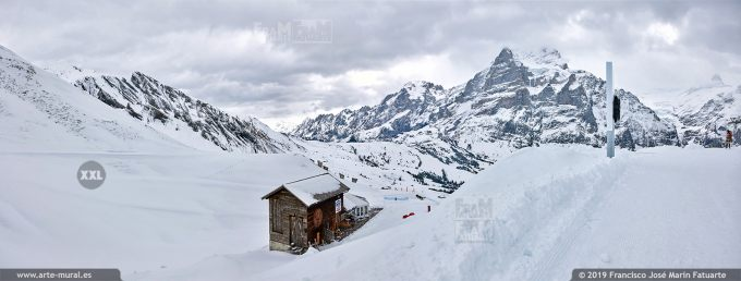 JF751703. Grindelwald-First mountain panorama. Switzerland