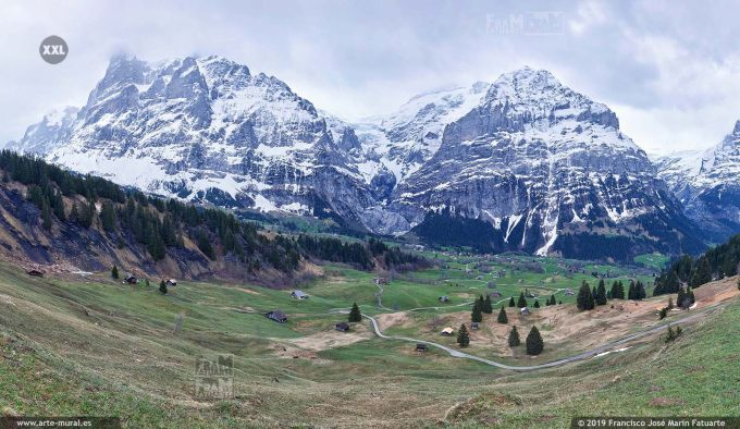 JF774406. Grindelwald-First  mountain panorama. Switzerland