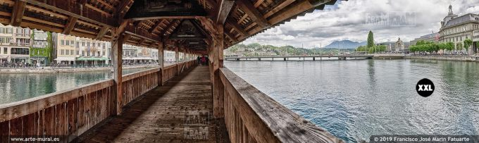 JF862054. View of River Reuss under Kapellbrücke, Lucern (Switzerland)