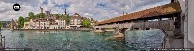 JF879105. River Reuss, Spreuer Bridge and old town skyline, Lucerne (Switzerland)