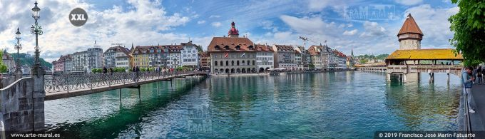 JF884805. River Reuss and old town skyline, Lucerne (Switzerland)