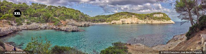 K8584605 Cala Mitjana and Mitjaneta panorama. Menorca (SPAIN)