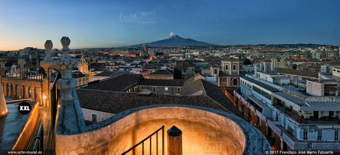 H5853353. Catania skyline and Etna. Sicily (Italy)