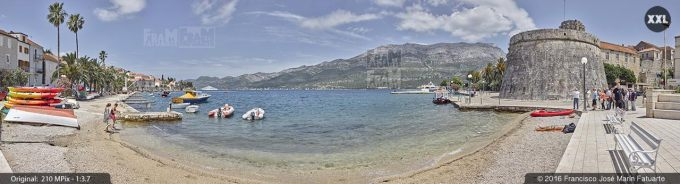 G3785705. Spomenik Beach and Large Governor's Tower. Korcula (Croatia)