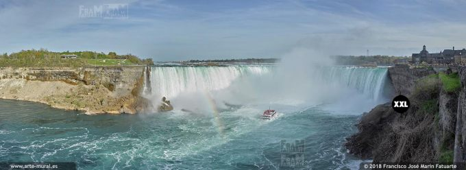 I65635F6. Horseshoe Falls in Niagara Falls, from Canada border.