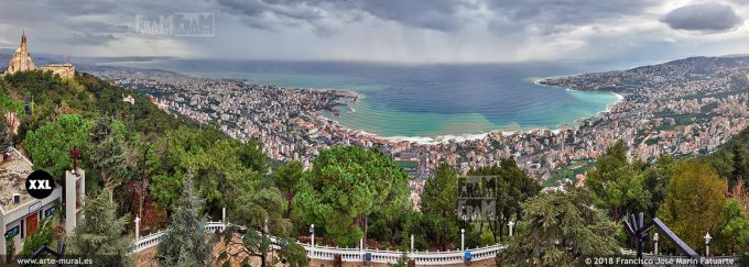 IF315606. Jounieh city and bay panoramic view from Harissa mountain, Lebanon